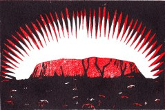Uluru. Colour reduction woodcut.